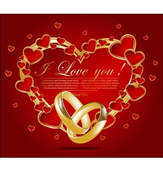 Abstract card with glossy red hearts vector image
