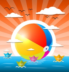 Beach Ball in Water - Ocean or Lake with Paper vector image vector image