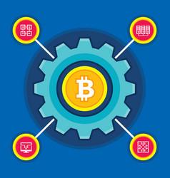 bitcoin blockchain modern technology vector image vector image