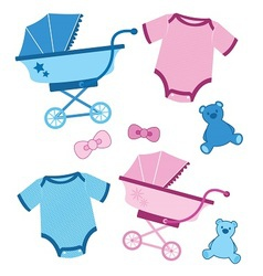 Blue and pink baby items for boys and girls vector image