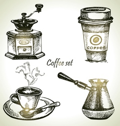 Hand drawn coffee set vector image vector image