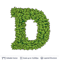 letter d symbol of green leaves vector image