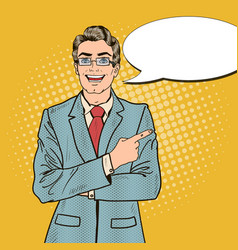 pop art handsome businessman pointing copy space vector image vector image