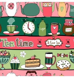 Tea time seamless background pattern vector image