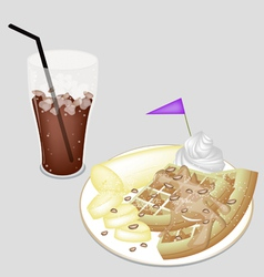 A Delicious Iced Coffee with Tradition Waffle vector image vector image