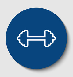 dumbbell weights sign white contour icon vector image