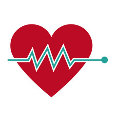 Heartbeat heart beat pulse flat icon for medical vector