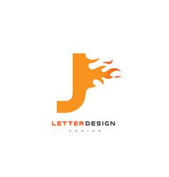 j letter flame logo design fire logo lettering vector image vector image
