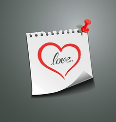 Red heart paper note love message vector image vector image