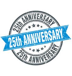 25th anniversary round grunge ribbon stamp vector