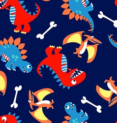 3 Cute dinosaurs in a seamless pattern vector image