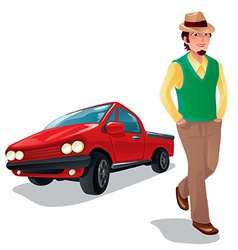 a boy with his car vector image