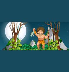 a caveman hunting for food vector image
