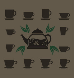 a set of 12 cups of various shapes and a glass vector image