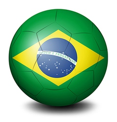 A soccer ball with the flag of Brazil vector image