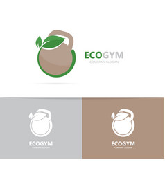A weight and leaf logo combination vector