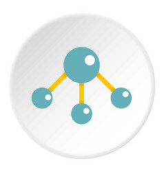 abstract blue molecules icon circle vector image