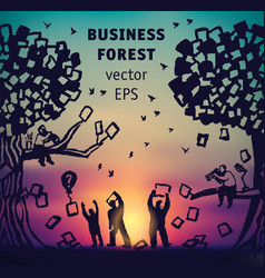 abstract business forest people and documents vector image