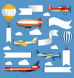 Air banners plane and balloon corn duster vector