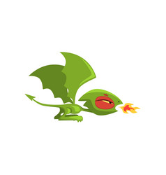 angry little dragon breathing fire green fairy vector image