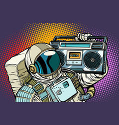 Astronaut with boombox audio and music vector