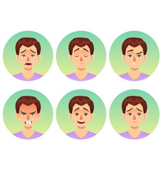 avatars emotions set a man with a variety of vector image