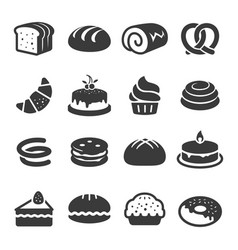 bakery and cake icons set images vector image