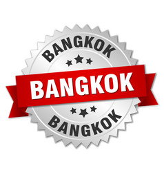 Bangkok round silver badge with red ribbon vector