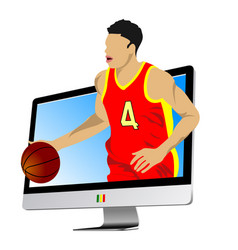 basketball player into monitor vector image