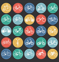 Bicycle icons set on color circles black vector