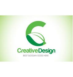 C green leaf letter design logo eco bio leaf vector