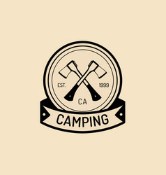 Camp logo tourist sign with hand drawn vector