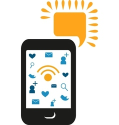 cell phone with communication icons vector image