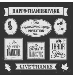Chalkboard style design elements for Thanksgiving vector image