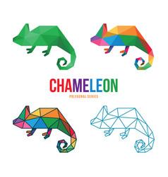 Chameleon low poly design vector