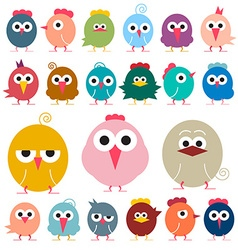 Chicken - Flat Design Funky Chicks Isolated vector
