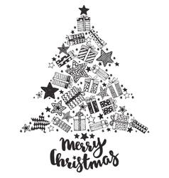 Christmas greeting card with hand drawn holiday vector image
