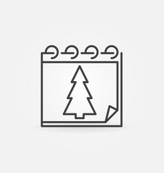 christmas tree calendar icon in thin line vector image
