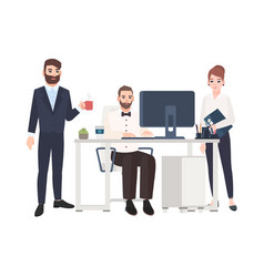 clerks or colleagues spending time at office vector image