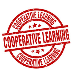 Cooperative learning round red grunge stamp vector