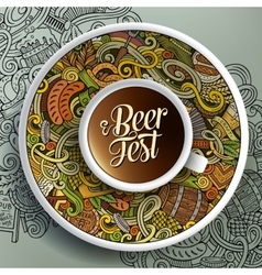 Cup of coffee oktoberfest doodles on a saucer vector
