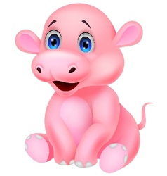 Cute baby hippo cartoon vector image
