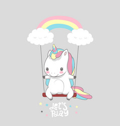 cute baby unicorn swing rainbow print poster vector image