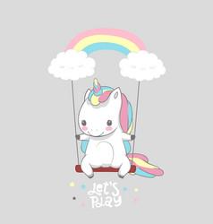 cute baunicorn swing rainbow print poster vector image