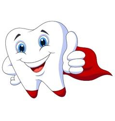 Cute cartoon superhero tooth vector