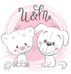 Cute cat and dog on a pink background vector