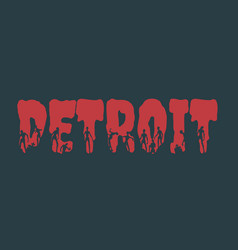 Detroit city name and silhouettes on them vector