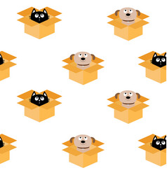 Dog cat inside opened cardboard package box puppy vector