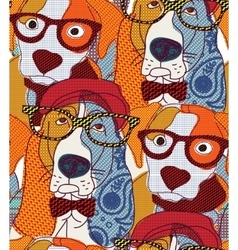 Dog seamless pattern patchwork vector