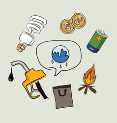 Earth destruction global warming icon oil vector